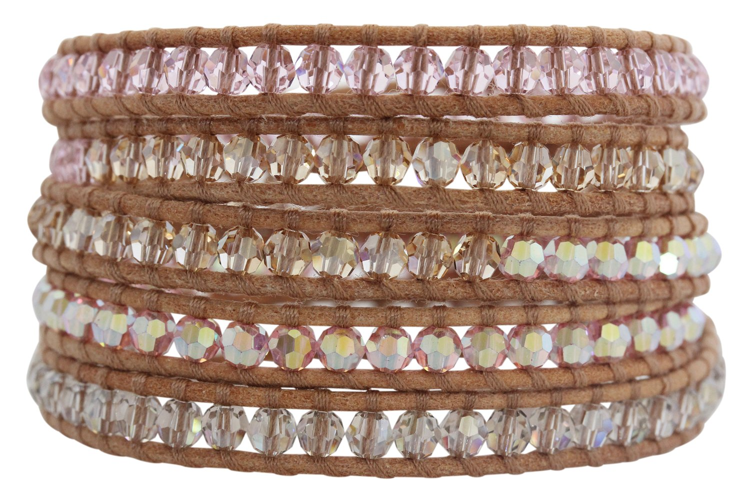 Chan Luu Rosaline Mix Light Rose Pink AB Crystal on Beige Leather Wrap Bracelet bs-2257