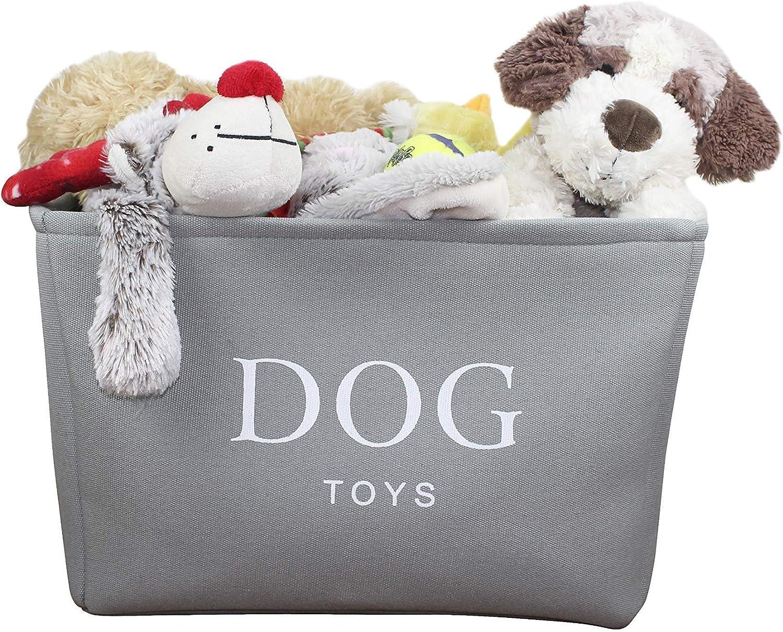 Cremefarbener Segeltuch-Hundespielzeugkorb Qualit/ätskorb zur Aufbewahrung von Hundespielzeug 40 cm x 30 cm x 25 cm