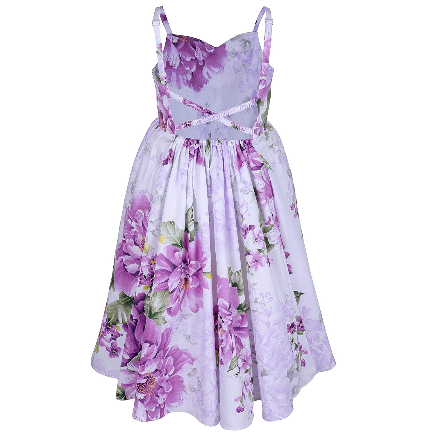 Flofallzique Purple Vintage Floral Backless Party Girls Dress for 1-10 Years Old