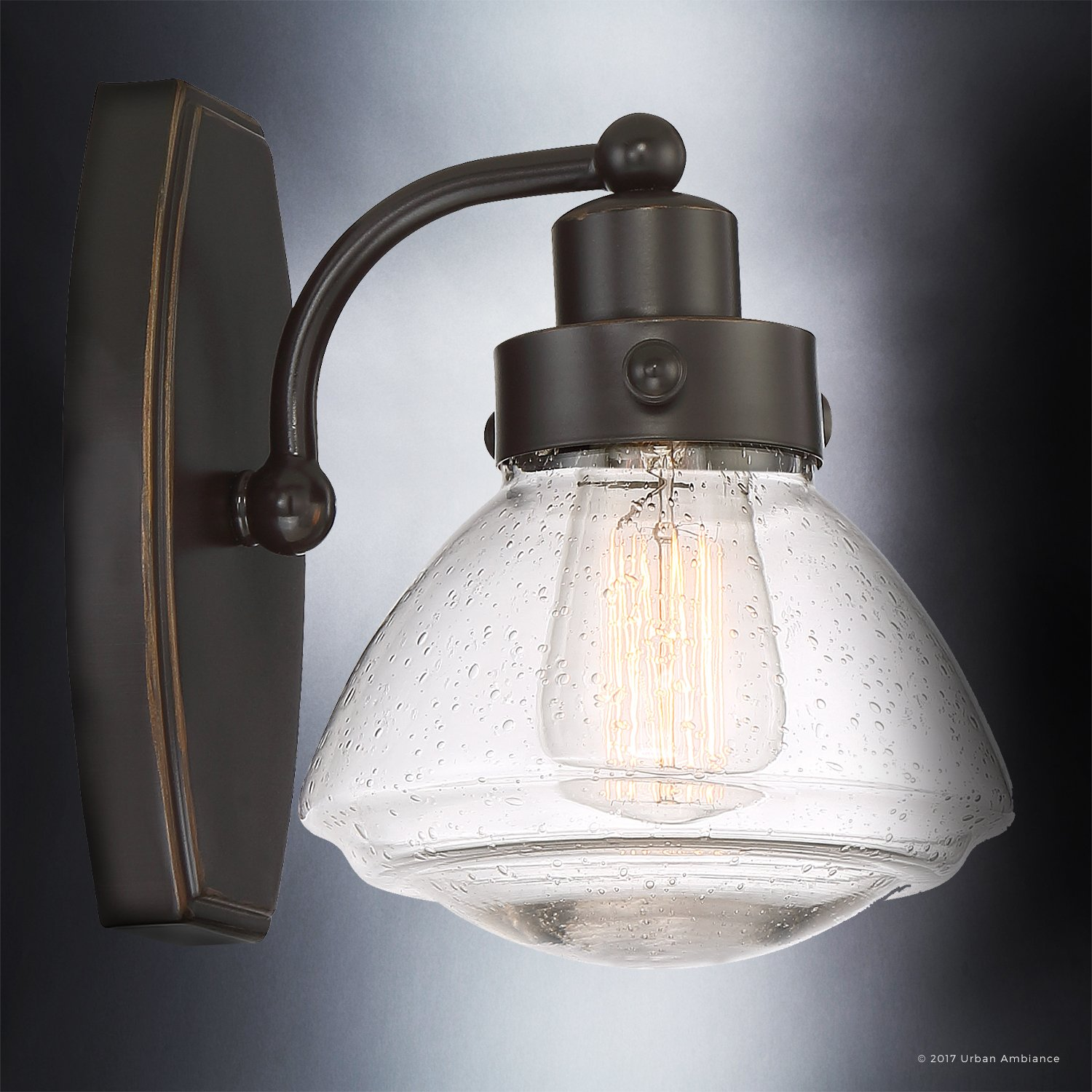 Luxury Transitional Bathroom Vanity Light, Small Size: 8.75'' H x 6.75'' W, with Rustic Style Elements, Oil Rubbed Parisian Bronze Finish and Seeded Schoolhouse Glass, UQL2650 by Urban Ambiance by Urban Ambiance (Image #4)