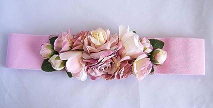 información para 2af01 fd4d6 Cinturón elástico con flores en tonos rosa claro. Envío GRATIS 72h