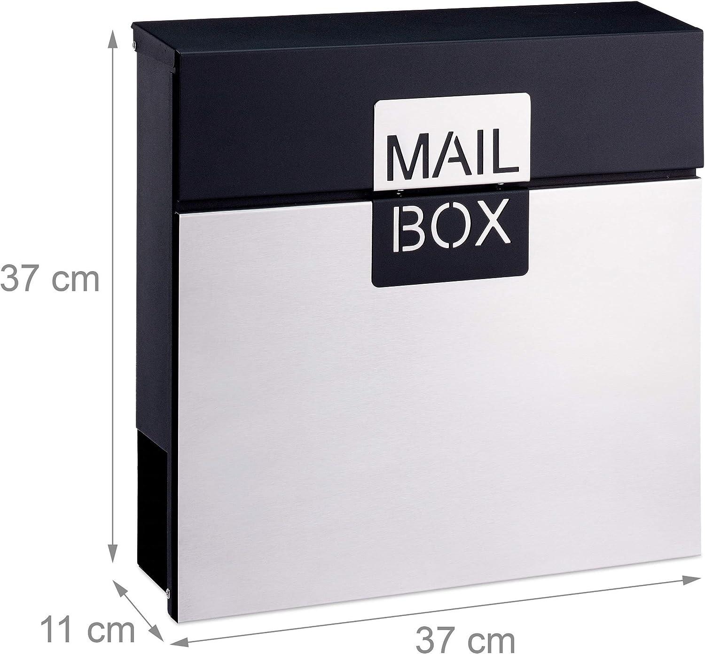 37 x 37 x 11 cm Plata Acero Inoxidable Relaxdays Buz/ón con Cerradura y Compartimento para Peri/ódicos