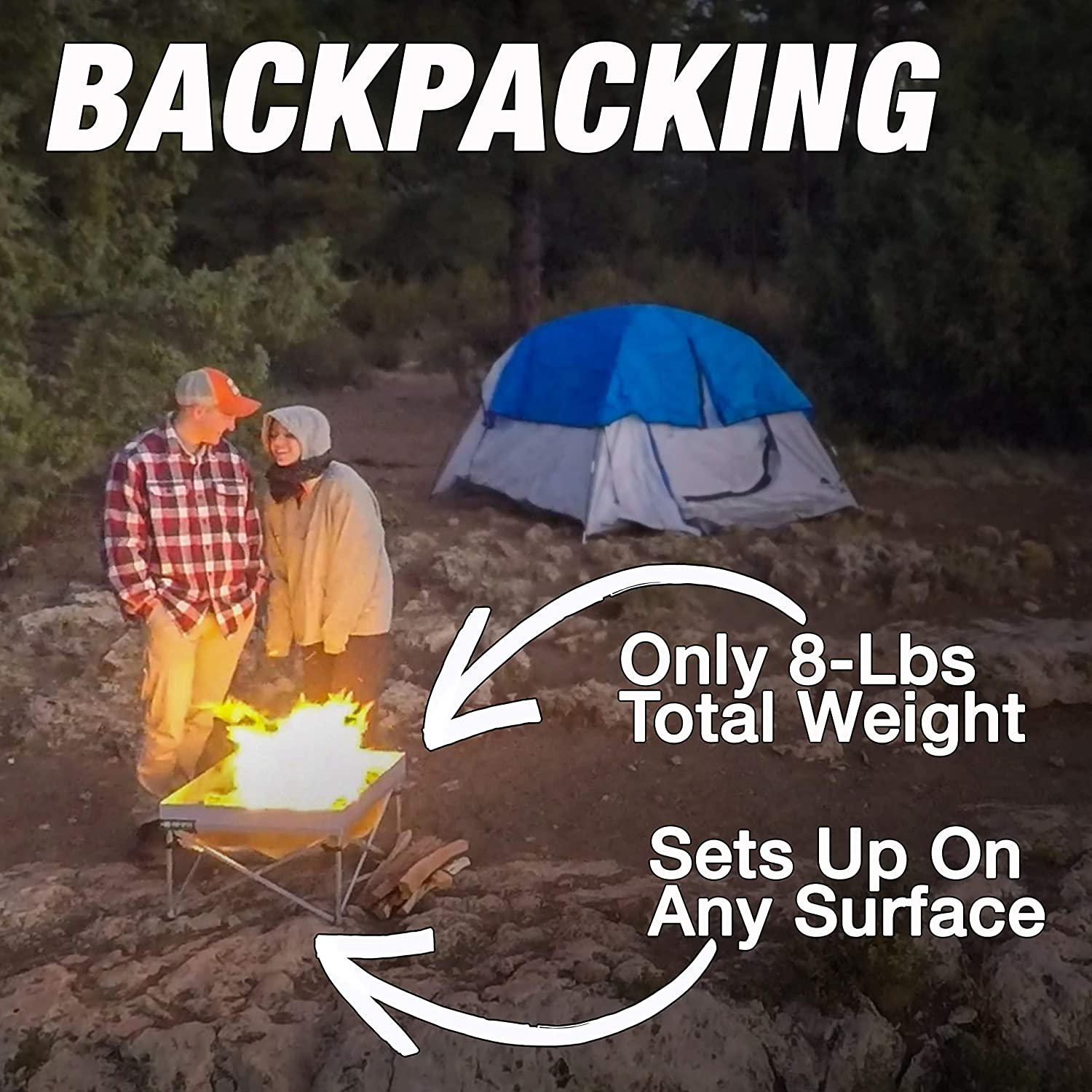 Fullsize 24 Inch Pop-Up Fire Pit Pop-Up Fire Pit + Heat Shield Weight 8 lbs Portable and Lightweight   Never Rust Fire Pit Included Heat Shield for Leave No Trace Fires
