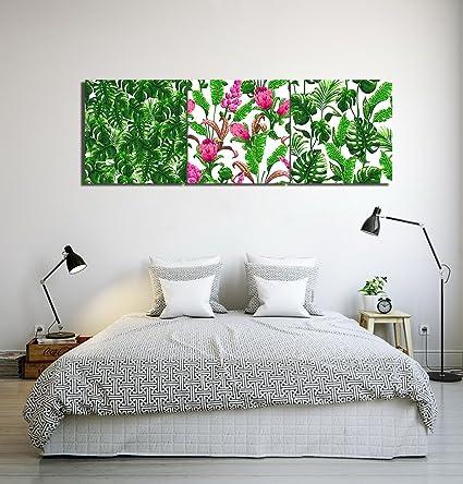 Planta tropical,hojas de plátano,verde,blanco_Cuadro de pintura al ...