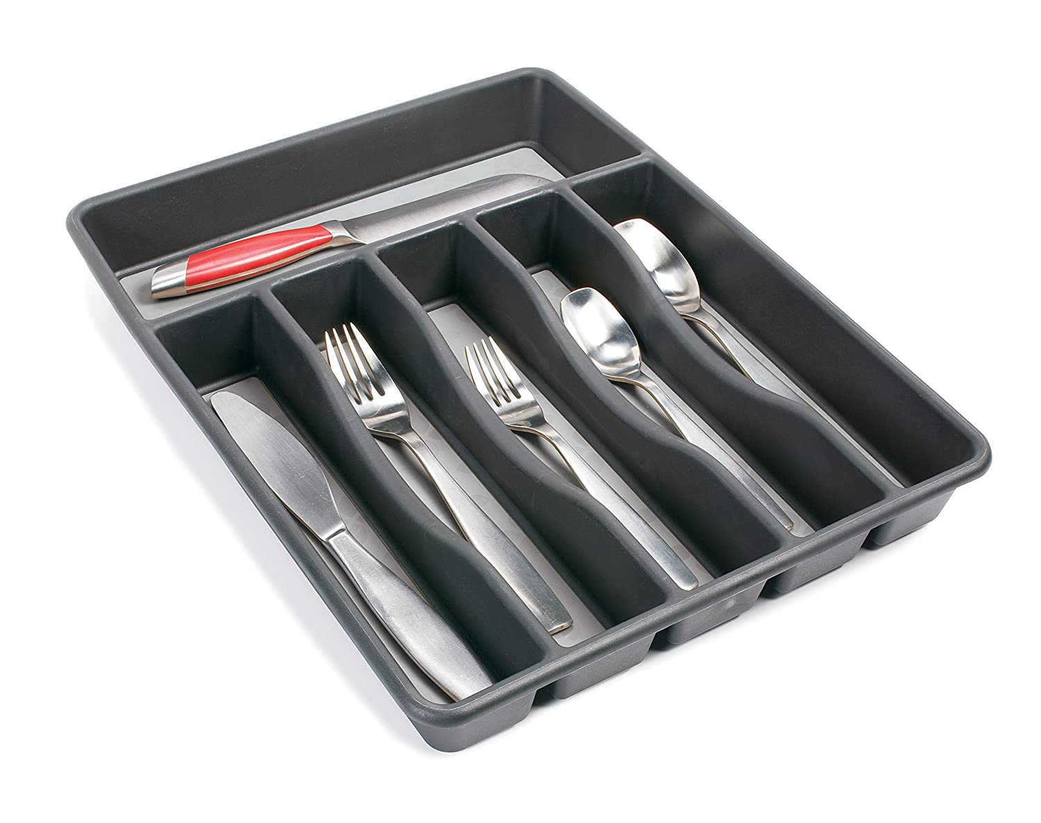 Kitchen cabinets tray storage - Rubbermaid No Slip Silverware Tray Organizer Large Black With Grey