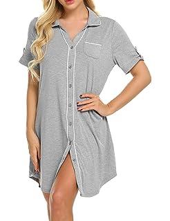 b11fcacbf5 Ekouaer Women s Sleepshirt 3 4 Sleeves Nightgown Sexy Nightshirts Boyfriend  Sleepwear S-XXL