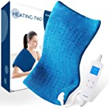 """Electric Heating Pad for Pain Relief - Saferell Fast-Heating Pad for Back & Cramps, XL Size 12"""" x 24"""" with Ultra-Soft Moist/Dry Heat Therapy, 6 Temperature Settings & Auto Shut-Off"""