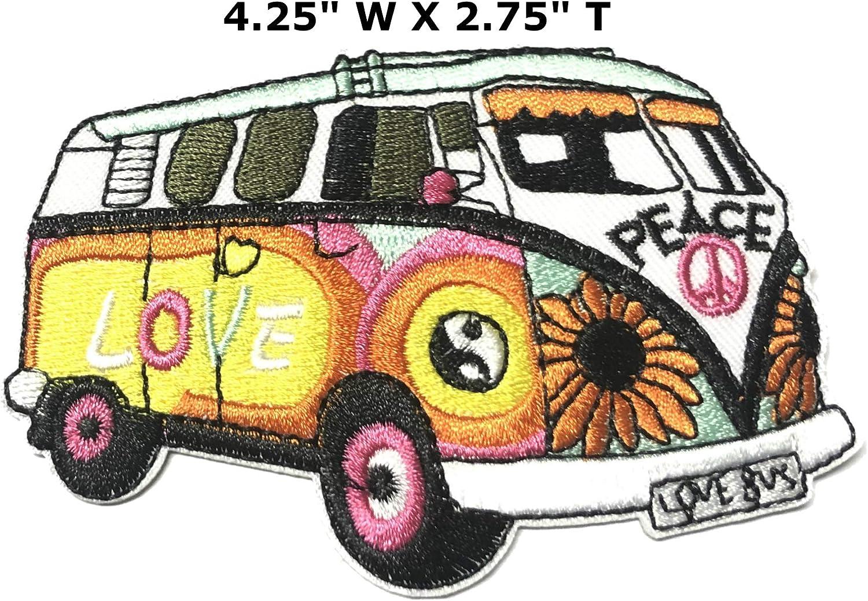 Parche bordado de la serie 70 de Peace Love Van de 4.25 pulgadas para coser o planchar Parches decorativos para cosplay de Weed Dove