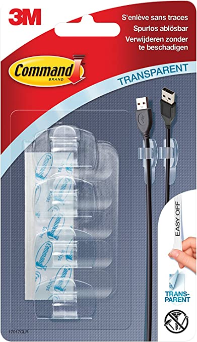 Command 17304/Cable Hangers White Medium white 2/Plastic Hooks, Medium, Up to 1kg 2/Hook and 2/Strips
