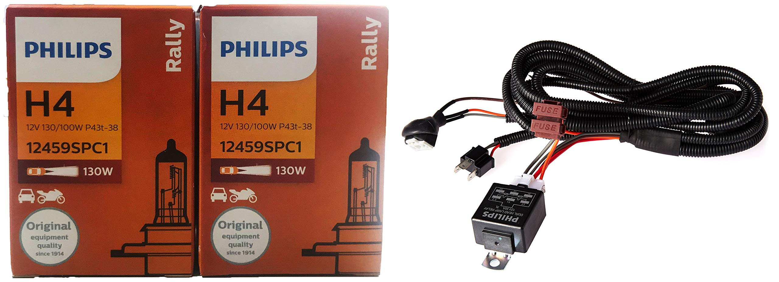 Philips Rally H4 Headlight Bulb (130/100W, 2 Bulbs) and Philips 12003XM H4 Heavy Duty Relay Wiring Kit for High Power (100/90W or 130/100W) product image