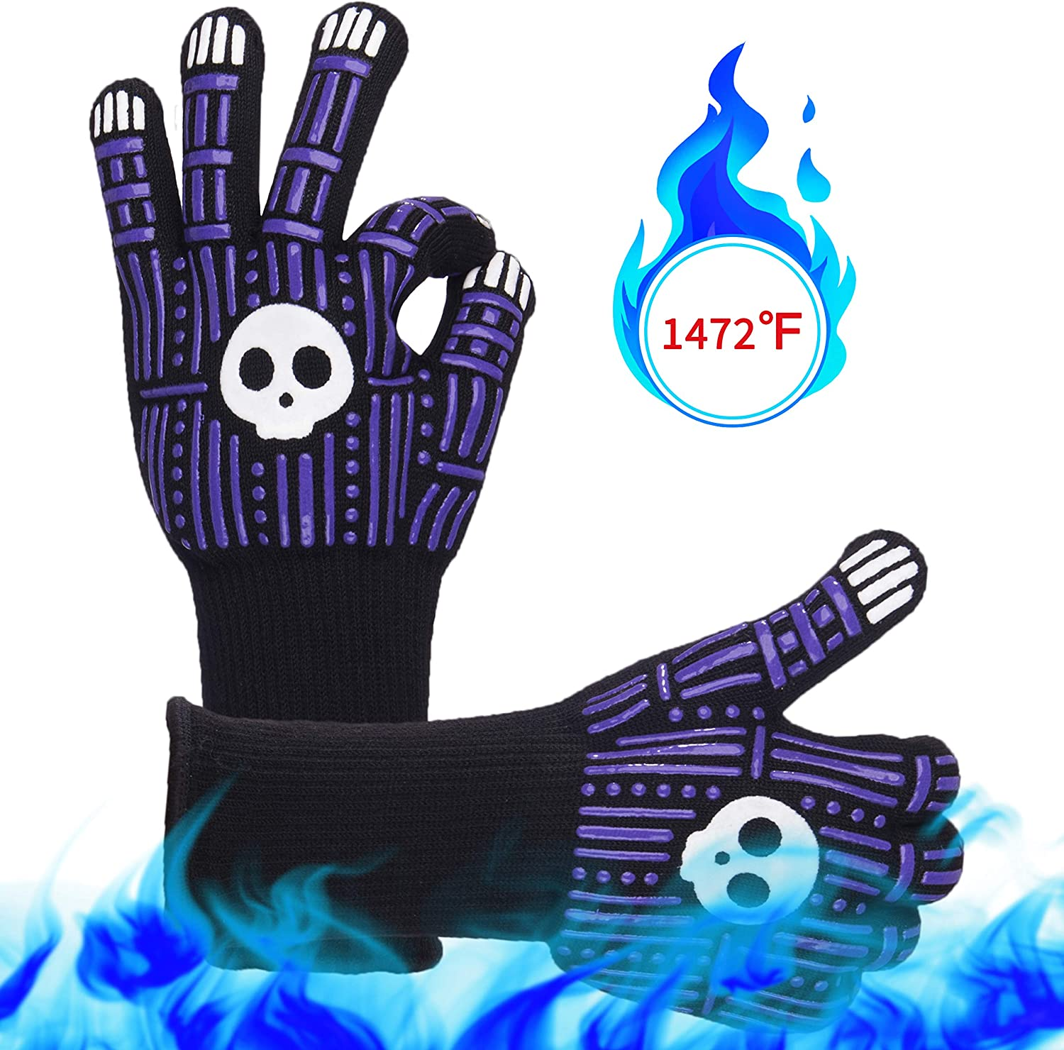 """HOLD ON WAY BBQ Gloves, 1472°F Heat Resistant, Cooking Barbecue Gloves, 13"""" Extreme Kitchen Oven Mitts, Gloves for Grill, Fireproof, Silicone Non-Slip, Baking, 1 Pair (Purple)"""