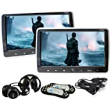 """Elinz 2x 10.1 inch Slim Active Car Headrest DVD Player HD Digital TFT Screen HDMI Game 9"""" Headphone 1024*600 High Res Sony Lens 32 Bits Games IR FM Transmitter, Built-in Speakers, USB SD Card Slot, Touch Button"""