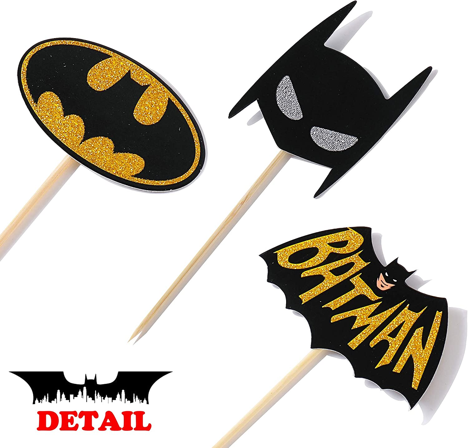 Batman Birthday Supplies Cupcake Toppers Batman Theme Party Glitter Decorations for Kids Birthday Super Hero Theme Party Baby Shower Favor Supplies Set of 24 Double-sided Printing
