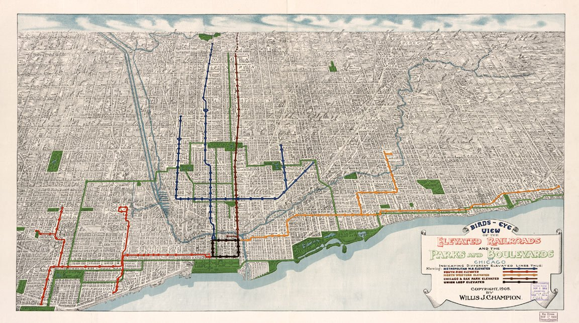 Amazon.com: Birds Eye View MAP of CHICAGO L TRAIN circa 1908 ... on