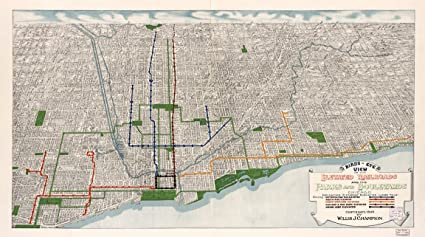 Train In Chicago Map.Amazon Com Birds Eye View Map Of Chicago L Train Circa 1908