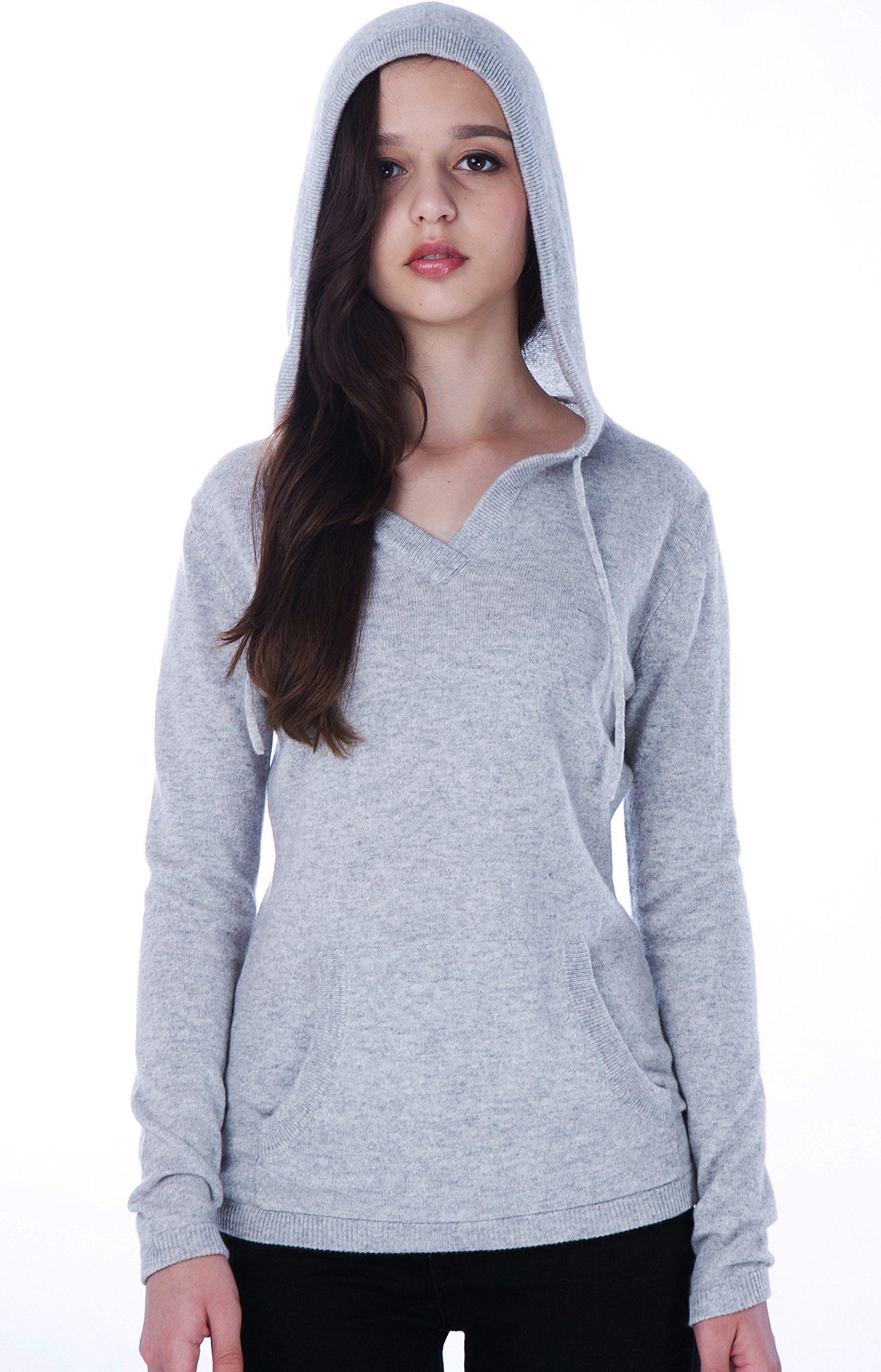 cashmere 4 U Women's 100% Cashmere V Neck Hoodie Sweater Pullover (Large, Argent)