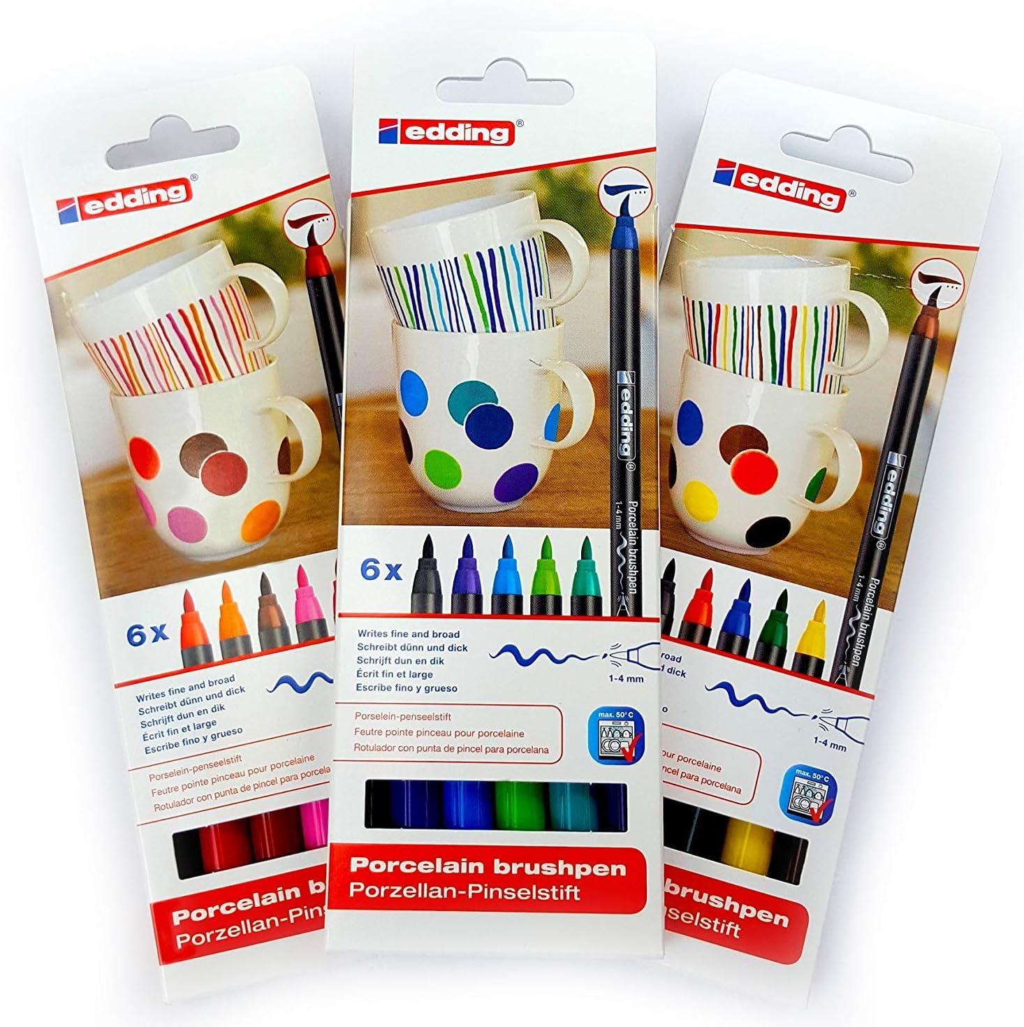 Edding 4200 Porcelain Brushpen Oven Bake Marker Pen (3 Assorted Sets)