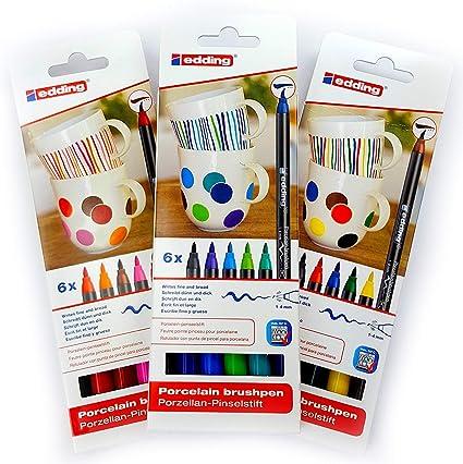 Edding 4200 Porcelana brushpen familia Color 6 Pen Set