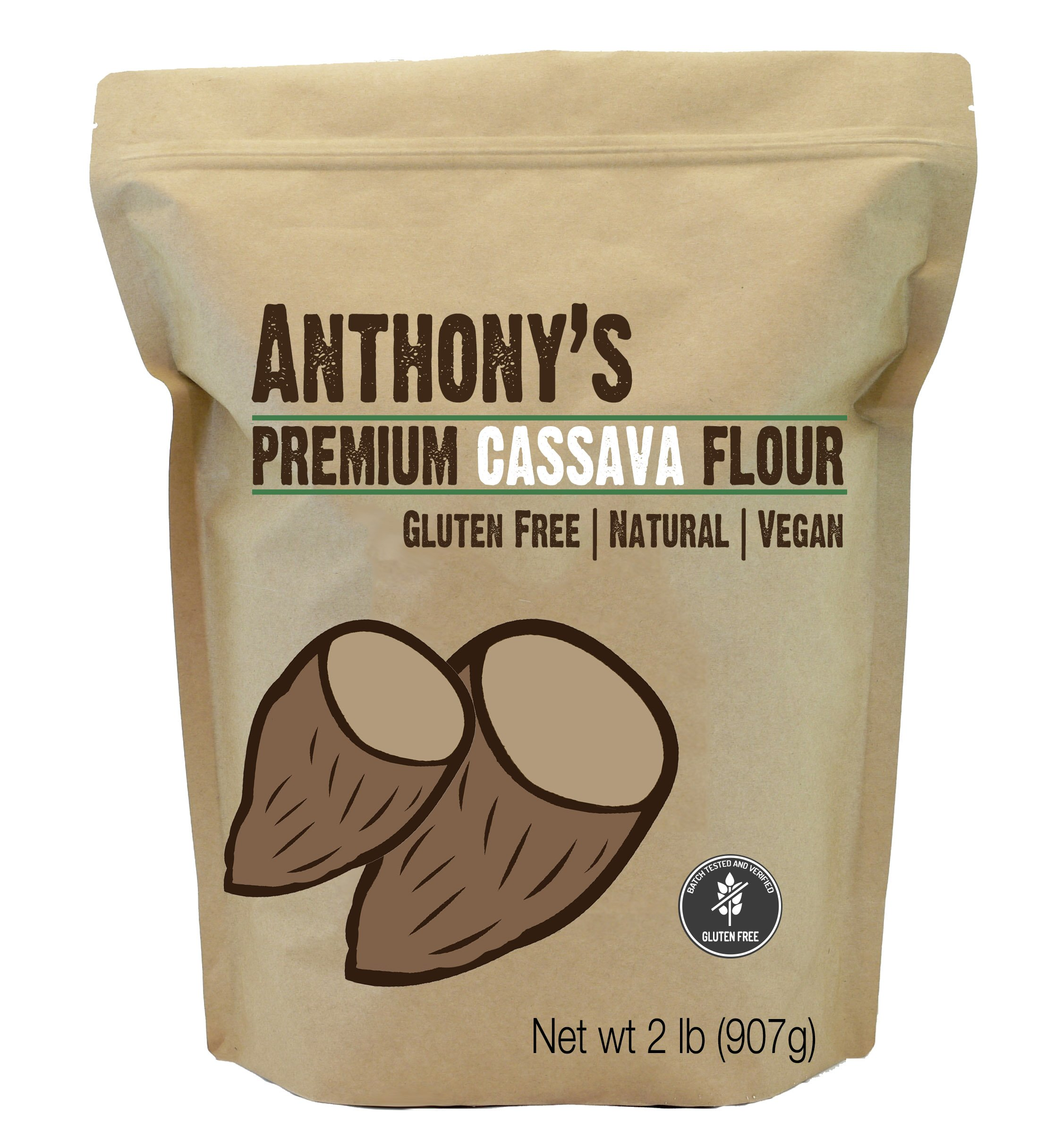 Cassava Flour by Anthony's, 2 pounds (32 Ounce), Batch Tested Gluten-Free