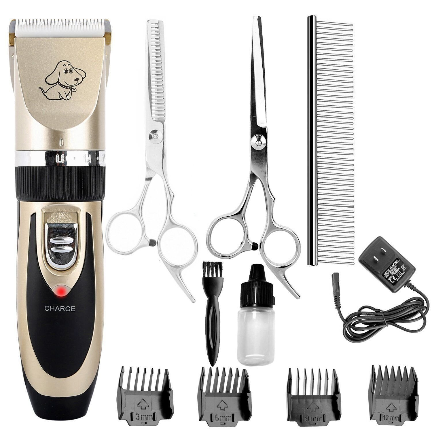Pet Grooming Clippers, MLCINI Professional Low Noise Rechargeable Cat Dog clippers Cordless Cordless with Combs and Scissors