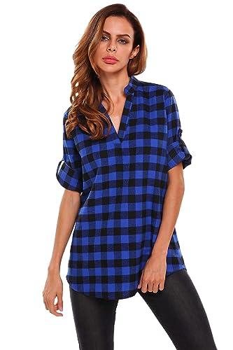Meaneor Camisa Cuadro Larga 3/4 Manga Cuello V Top Camiseta Blusa