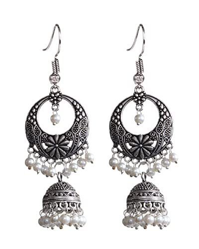 e22d6ceb5 Buy Sansar India Oxidized Silver Plated Beaded Chandbali Jhumki Jhumka  Jhumkas Earrings for Women Online at Low Prices in India | Amazon Jewellery  Store ...