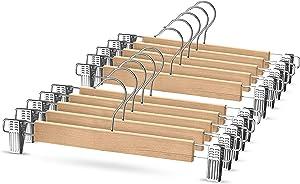 High-Grade Wooden Pants Hangers with Metal Clips Grip Clip Pants Hanger, Smooth Finish Solid Wood Jeans/Skirt Hanger, 360° Swivel Hook - Clip Hanger for Pant, Skirts, Slacks, (Natural Wood, 10 Pack)