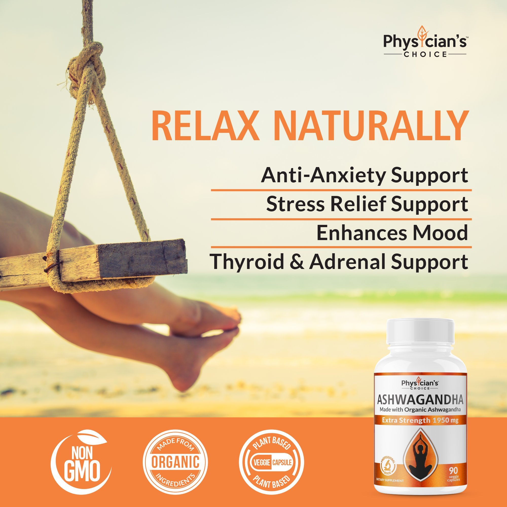 Ashwagandha 1950mg Organic Ashwagandha Root Powder Extract of Black Pepper Anxiety Relief, Thyroid Support, Cortisol & Adrenal Support, Anti Anxiety & Adrenal Fatigue Supplements 90 Veggie Capsules by PhysiciansChoice (Image #6)
