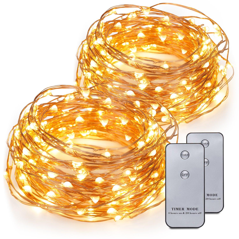 Kohree 2 Pezzi Catene Luminose a Luci LED con Telecomando Stringhe stellari da 6M con 120 LED Filo di Rame Flessibile Alimentazione 3 x AA Batterie Decorazione per Casa Festa Matrimonio