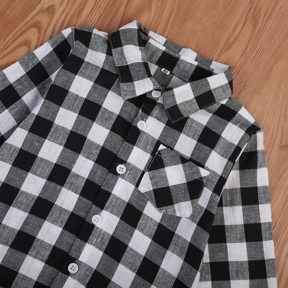 Imcute Toddler Baby Boys Girls Long Sleeve Casual Grey Plaid Shirt Top for Autumn Winter