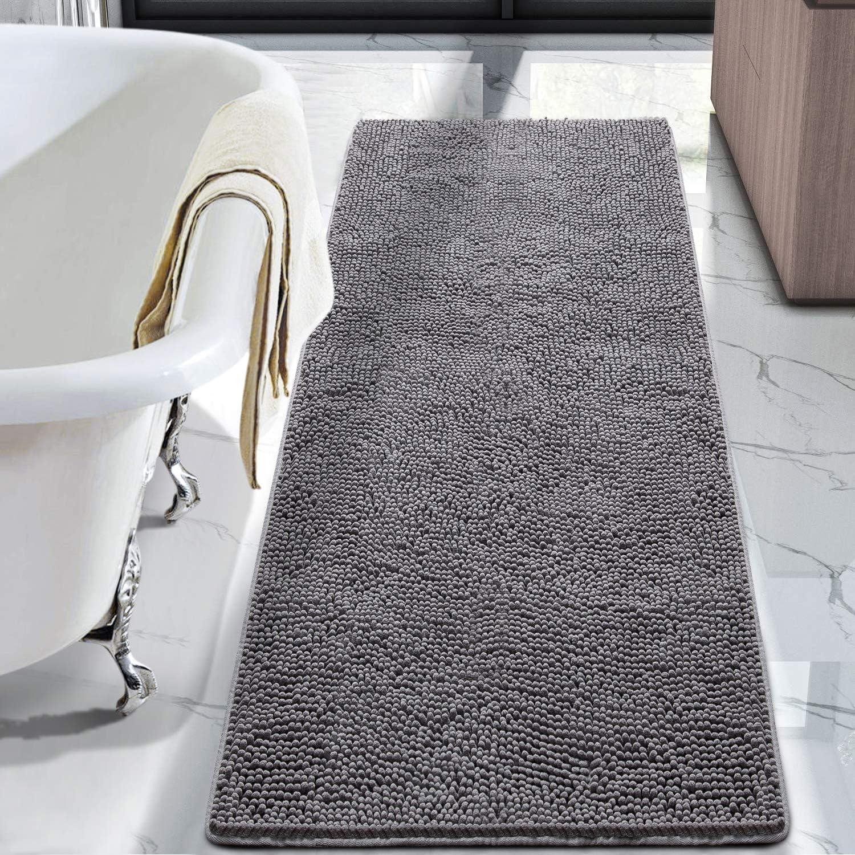 Amazon Com Lochas Luxury Bathroom Rug Shaggy Bath Mat 24 X 60 Inch Washable Non Slip Bath Rugs For Bathroom Shower Soft Plush Chenille Absorbent Carpets Mats Gray Home Kitchen