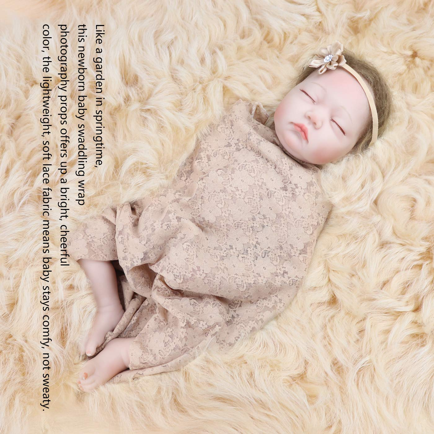 Receiving Blanket with Headbands BQUBO Newborn Baby Floral PrintedBaby Shower Swaddle Gift 3 Pack