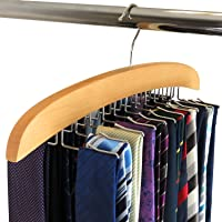 HANGERWORLD Wooden Tie Storage Space Saving Organiser Hanger with Metal Hook