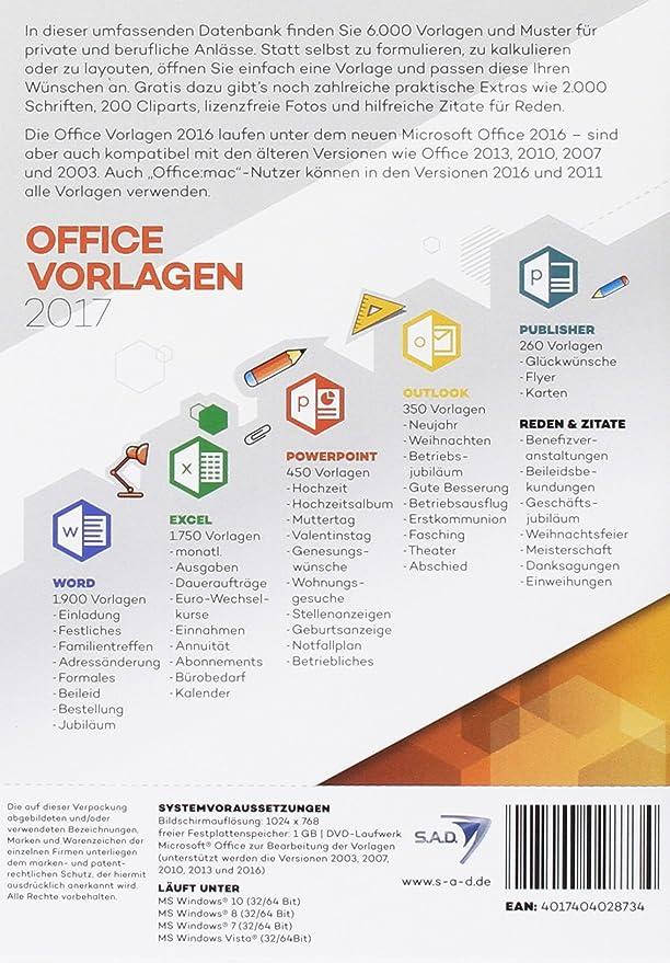 Office Vorlagen 2017: Amazon.de: Software