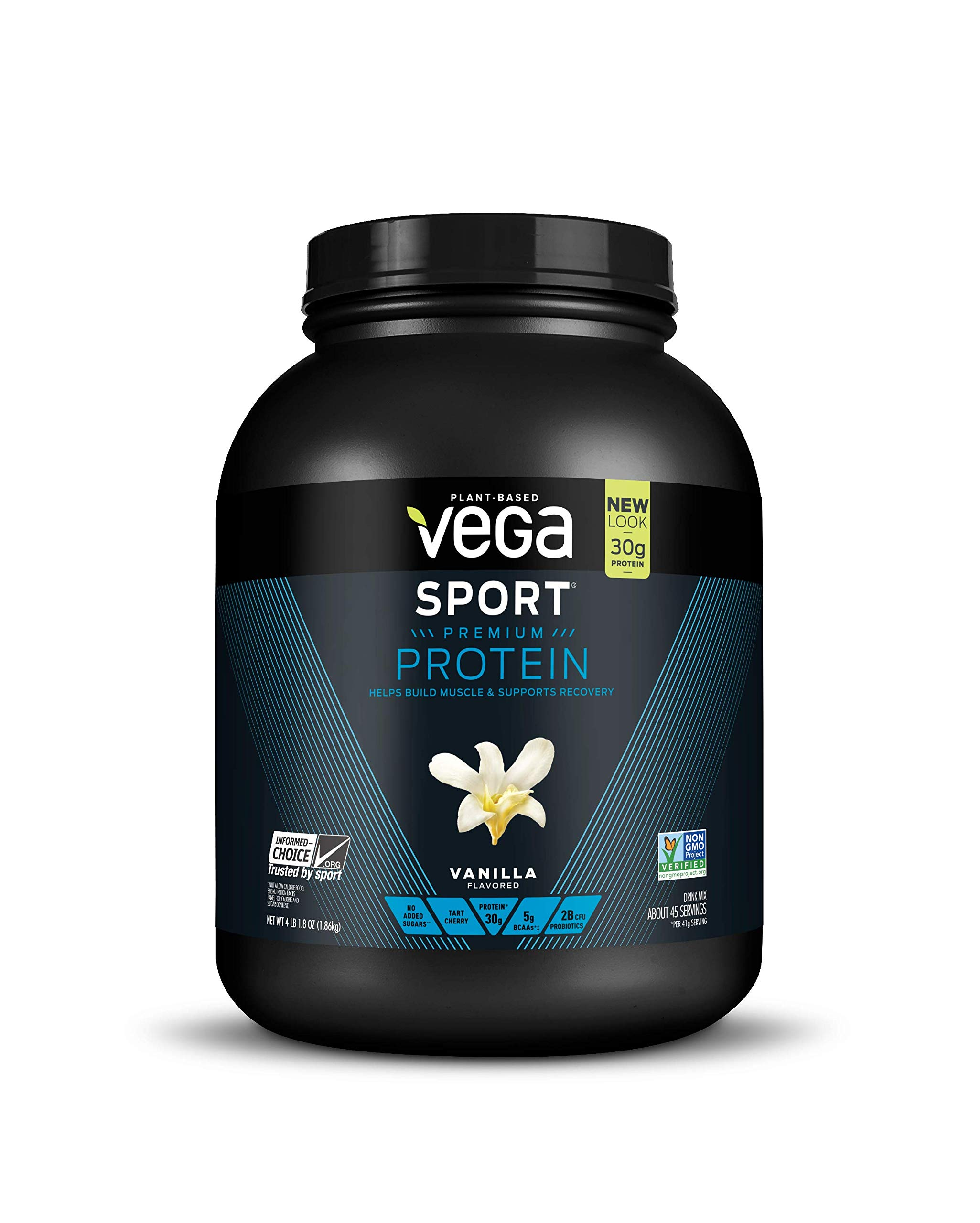 Vega Sport Protein Powder Vanilla (45 Servings, 65.6 Oz) Plant Based Vegan Protein Powder, BCAAs, Amino Acids, Tart Cherry, Non Dairy, Gluten Free, Non GMO (Packaging May Vary)