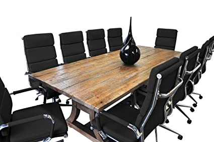 Strange Solis Patio 11 Piece Ligna Solid Wood Table With Black Bonded Leather Chairs Conference Set Natural Taupe Chrome Silver Black Brown Gmtry Best Dining Table And Chair Ideas Images Gmtryco