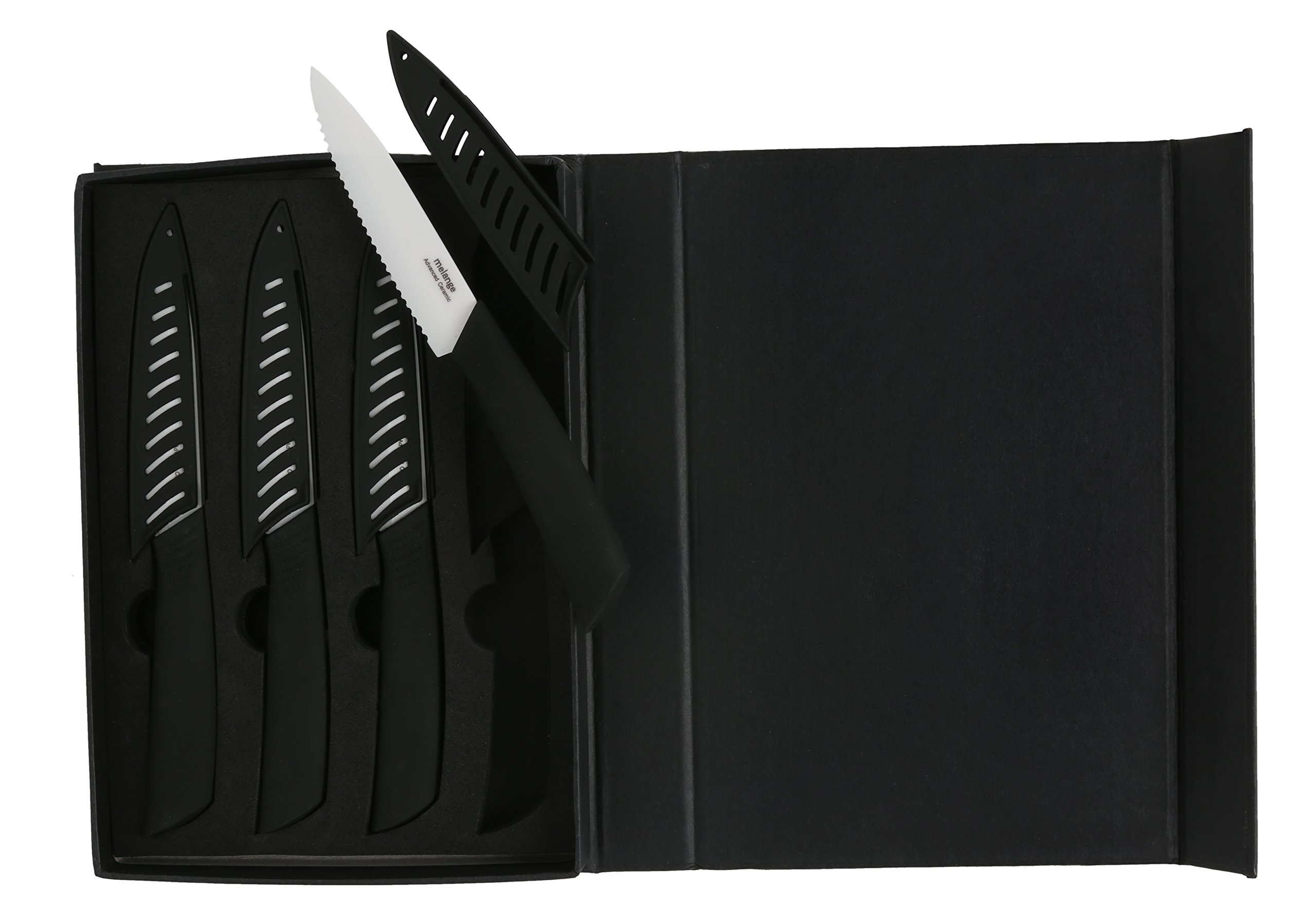Melange 8-Piece Ceramic Steak Knife Set with Black Handle and White Blade by Melange