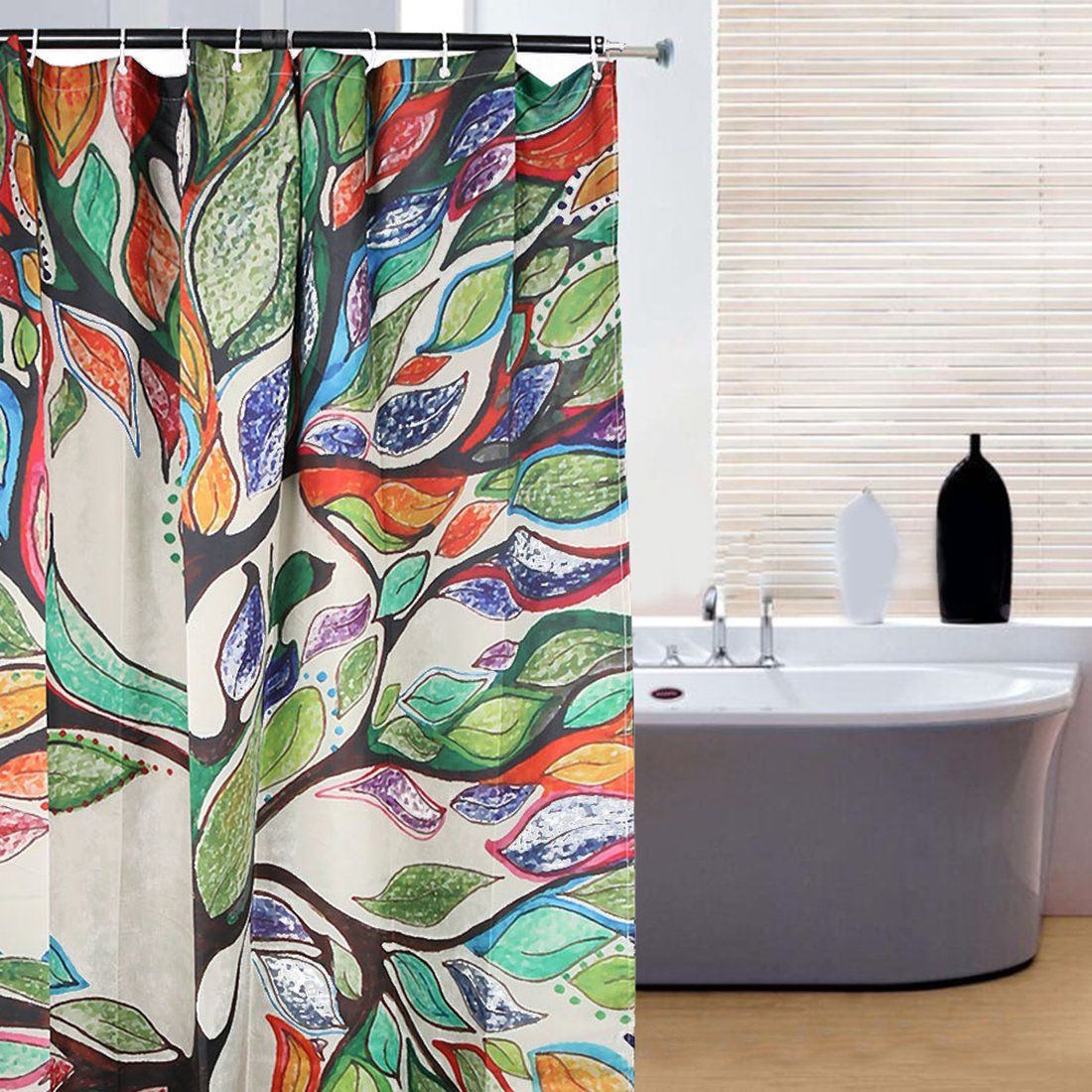 amazoncom oneoney colorful tree of life gorgeous like feather bathroom shower curtain custom polyester fabric kids decorative curtain ideas 60w x - Colorful Shower Curtains