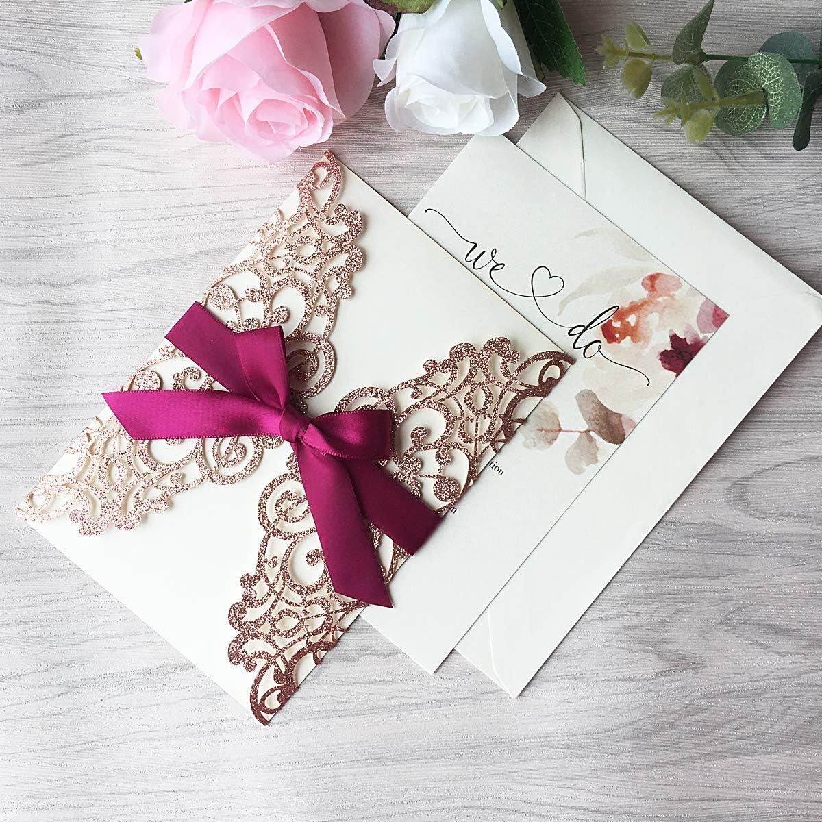 con Nastro Bordeaux Invito a nozze biglietti di fidanzamento incl Busta 20 pezzi Biglietti dinvito con pizzo Flora tagliato al laser Oro rosa glitter