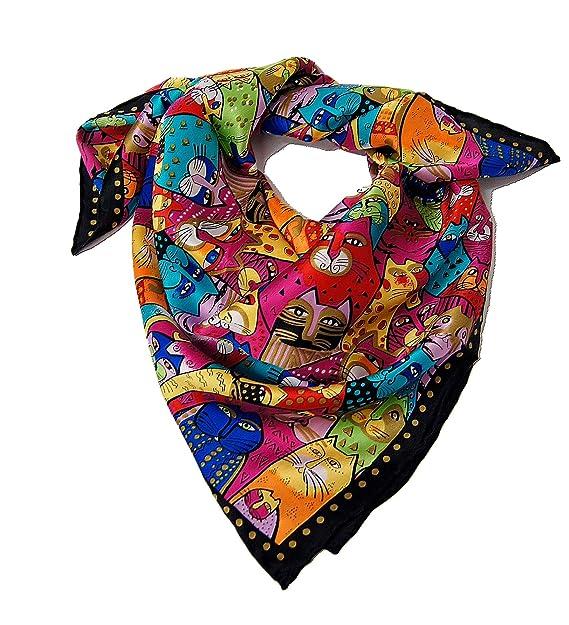 Rose Poudré - Pañuelo cuadrado, 100% seda, diseño de gatos, 90 x 90 cm, multicolor: Amazon.es: Ropa y accesorios