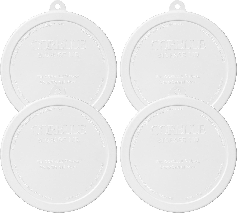 Corelle 418-PC Livingware White 18 Ounce Soup/Cereal Bowl Plastic Lid - 4 Pack