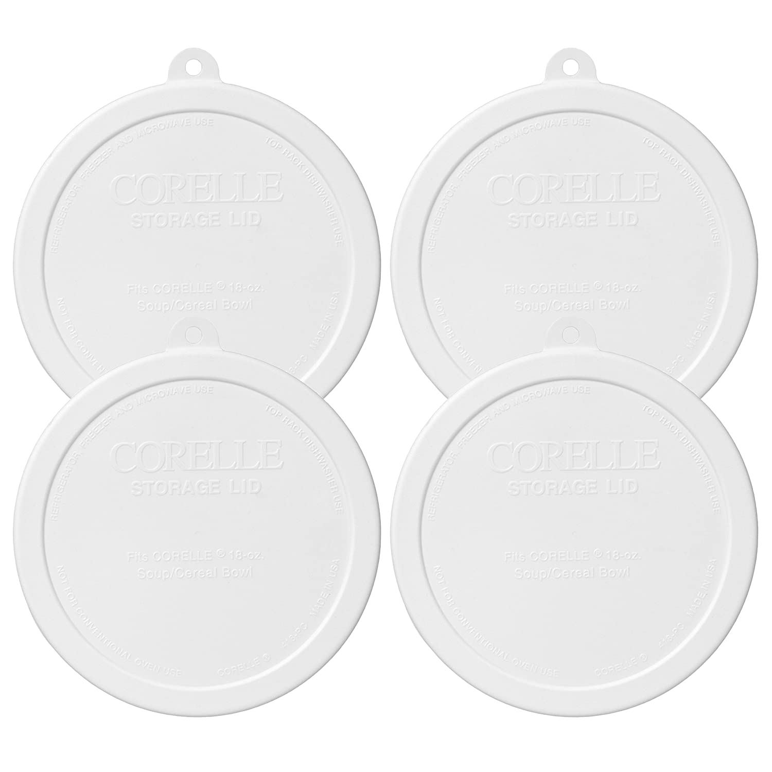 Corelle 418-PC Livingware White 18 Ounce Soup / Cereal Bowl Plastic Lid - 4 Pack
