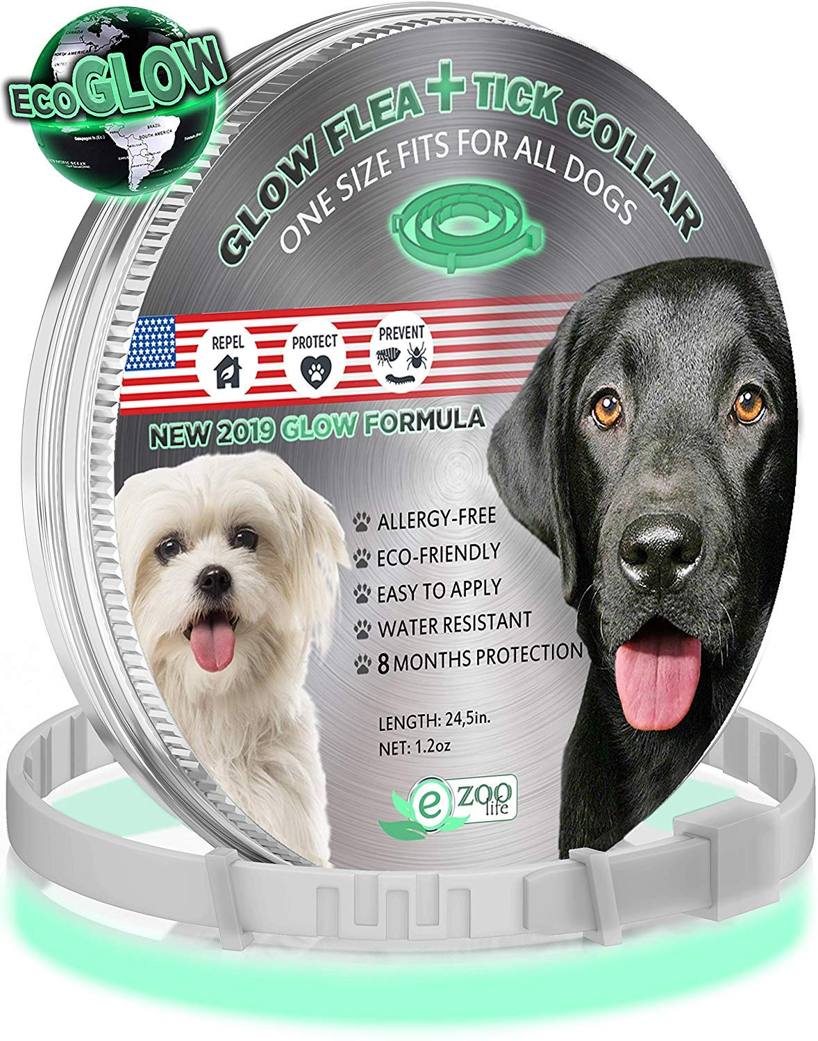еZOOlife Glow ECO Pest Control Collar: Hypoallergenic Waterproof Protection Long Lasting Flea and Tick Prevention Fully Adjustable one Size fits All 81G6Q0n52HL