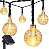 DecorNova 19.7 Feet 30-LED Solar Fairy Lights Outdoor Ball String Lights,Warm White