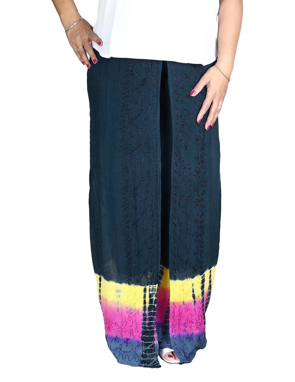 Farbenfrohe bestickte Hose aus Rayon mit Batik-Design