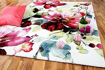 Pergamon Designer Teppich Brilliant Rosa Blumen Rund in 3 Gr/ö/ßen