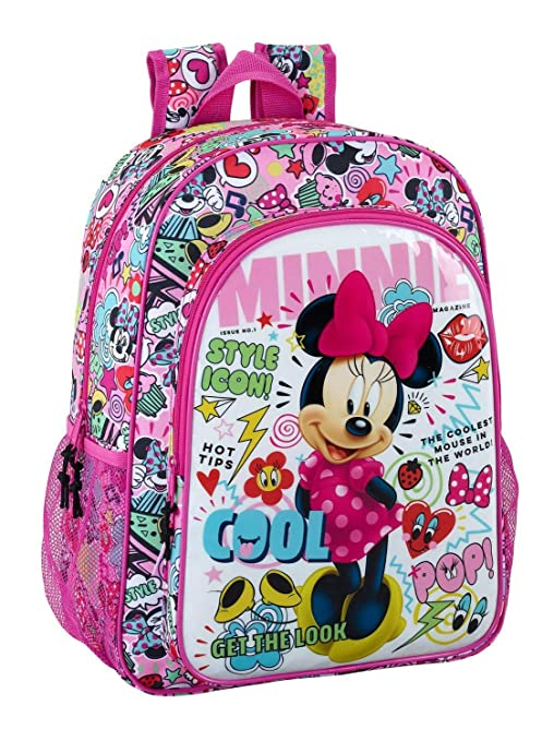 "Safta Mochila Escolar Niños Minnie Mouse ""Cool"" Oficial 330x140x420mm"