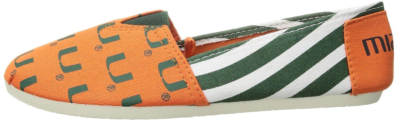 FOCO Miami Hurricanes NCAA Womens Stripe Canvas Shoes S