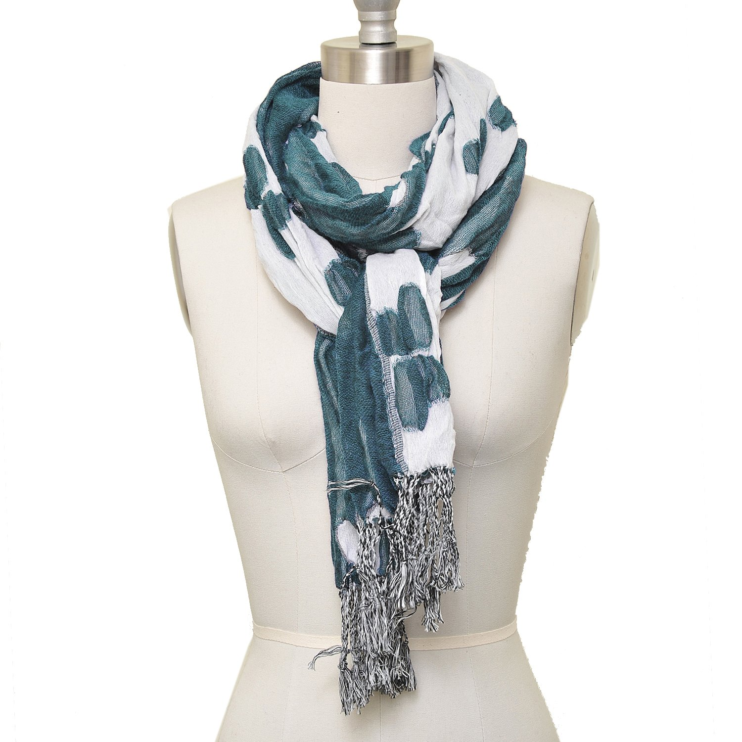 HUE21 Women's Ruffle Stretch Double Sided Floral Scarf Blue Green and White Color