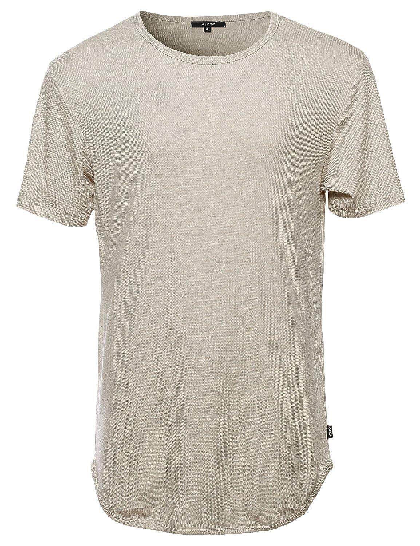 Youstar Men's Casual Longlie Side Slit with Zipper Tshirt Tee